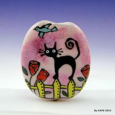 """It's All About Balance"" Bykayo A Handmade Cat Lampwork Art Glass Focal Bead SRA 