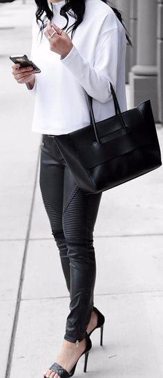 black and white look pairing with heels