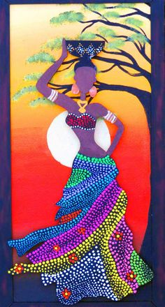 The beauty of the black-skinned woman is one of the most sought after by the public - PINTURAS - Mandala Art, Mandala Painting, Dot Art Painting, Fabric Painting, Afrique Art, African Art Paintings, African American Art, African Girl, Aboriginal Art