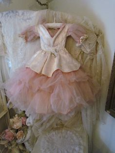 LAYAWAY For E 1950's pink Tulle Prom Ball Gown Doll Dress Large AS IS