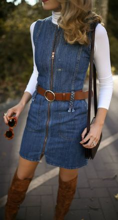 c4abb9dfd11 30 DRESSES IN 30 DAYS  Fall Bonfire    Sleeveless zip-up denim dress ...