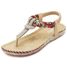 0c08c10cabe95 High-quality Bohemian Bead Floral Elastic Clip Toe T Strap Slip On Flat  Beach Sandals - NewChic Mobile.