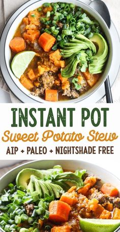 Easy Instant Pot Sweet Potato & Beef Stew (AIP Paleo) - [low allergen and anti-inflammatory gluten free recipes from rally pure] autoimmune protocol compliant dairy free grain free top 8 free egg free Healthy Recipes, Soup Recipes, Whole Food Recipes, Instapot Recipes Paleo, Paleo Meals, Irish Recipes, Crockpot Meals, Easy Recipes, Paleo Crockpot Recipes