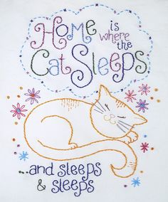 Embroidery Pattern Cat Sleeping by GinaMatarazzo on Etsy Embroidery Applique, Cross Stitch Embroidery, Embroidery Patterns, Machine Embroidery, Cat Sleeping, Sleeping Quotes, Cat Crafts, Cross Stitching, Blackwork