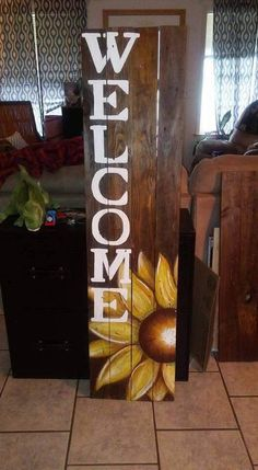Sunflower Welcome Sign Painting Potential Wooden crafts, Diy wood craft signs - Wood Crafts Pallet Crafts, Diy Pallet Projects, Wooden Crafts, Wood Projects, Pallet Ideas, Fence Ideas, Diy Pallet Quotes, Backyard Ideas, Barn Board Projects