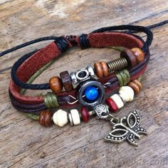 Cheap Cute Pearl Butterfly Leather Bracelet For Big Sale!It is the perfect Leisure bracelet. Cute Bracelets, Bracelets For Men, Fashion Bracelets, Beaded Bracelets, Antique Bracelets, Bangles, Diy Leather Bracelet, Leather Jewelry, Beaded Jewelry