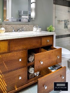Jane Lockhart Interior Design bathroom with wood cabinetry; the drawers are deceiving and provide for different type of storage. Interior Design Photos, Bathroom Interior Design, Floating Cabinets, Vanity Drawers, Shower Shelves, Bathroom Renovations, Bathrooms, Custom Cabinetry, Cabinet Design