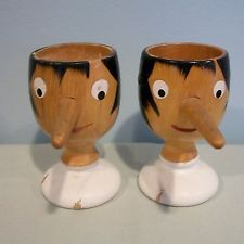 Vintage Pair of Wooden Painted Pinnochio Egg Cups w/ Long Nose Made in Italy