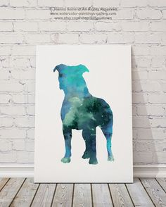 Blue Pitbull Silhouette Gift Idea Abstract Kids by Silhouetown