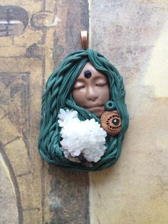 Gaia Goddess Necklace Pendant  Handsculpted  by SophiasDreaming, $77.70