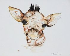 Giraffe print of watercolour painting 5 by 7 size by LouiseDeMasi