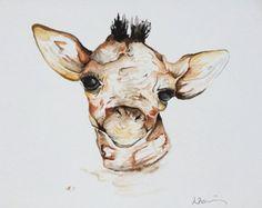 Hooray watercolor painting giraffe painting nursery от Waterblooms