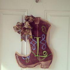 Cowboy boot burlap door hanger