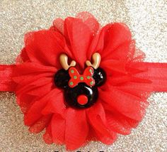 Minnie Deer by Amber Rose - Minnie Mouse Headband Red Flower- Toddler, Baby, Christmas, Photo Prop, Newborn, Holiday on Etsy, $6.75