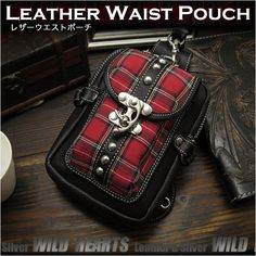 Go hands free in Punk&Rock style! Perfect hip pouch for Biker!   Genuine Leather Waist/Belt Pouch Belt Loops Purse Hip Fanny pack Punk Rock Style WILD HEARTS Leather&Silver (ID wp3487b12)  http://global.rakuten.com/en/store/auc-wildhearts/item/wp3487b12/