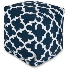 Majestic Home Goods Trellis Cube Pouf Ottoman Fabric: Navy
