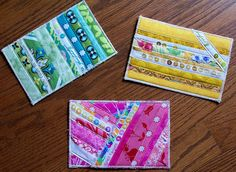 Quilted Postcards - I like the simple strips!!!