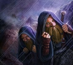 Dwarves travelling in foul weather