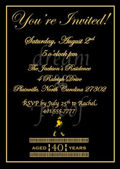 Customizable Johnny Walker Theme Invitation Husband by DreamProof