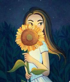 Sunflower Drawing, Sunflower Art, Sunflower Pictures, Sunflower Wallpaper, Digital Art Girl, Cartoon Art, Cute Drawings, Cute Wallpapers, Cute Art