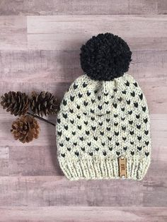 Wheat and Charcoal Beanie Knitting pattern by Olguine Brutus Chunky Hat Pattern, Chunky Knitting Patterns, Knitting Stiches, Crochet Beanie Pattern, Knitting Yarn, Knitting Ideas, Knitted Hats, Crochet Hats, Fall Sewing