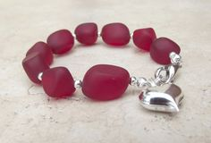 Red Beaded Bracelet:  Cherry Red Sea Glass Valentine's Jewelry with Silver Heart Charm Under 40.