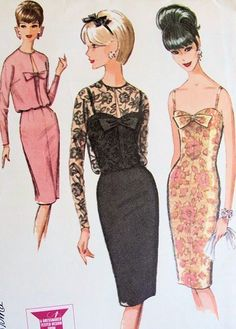 1960s SLIM SHEATH COCKTAIL DRESS PATTERN CAMISOLE TOP, BLOUSED JACKET McCALLS 7511