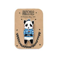 Panda Sailor Brooch by andsmile on Etsy, £7.00