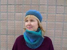 knit kit from woolberet and scarf Snood knitted felted by LenaKom