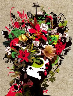 Marumiyan graphic art - floral, collage effect, strong colours, bold shapes