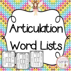 Articulation Word Lists - 15 Sounds: +K,+G,+F,+V,+S,+Z,+R,+L,+CH,+SH,+Voiced and Voiceless+TH,+Blends+(R,+S,+L)