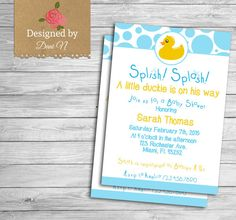 baby shower Invitation, rubber duck baby shower, yellow and blue ducky invitation, printable party invite #etsy  #etsymntt
