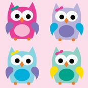 Girly Owls - Large fabric by littlebdesigns for sale on Spoonflower - custom fabric, wallpaper and wall decals