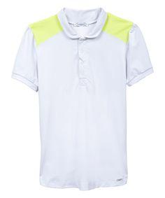 White & Neon Yellow Shoulder-Panel Polo