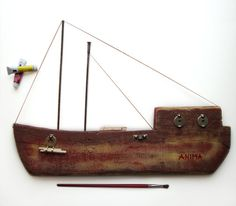 Decorative wooden Wall Hanging Ship by superlittlecute on Etsy, $180.00 Driftwood Fish, Driftwood Crafts, Pallet Creative Ideas, Wood Projects, Craft Projects, Boat Art, Wood Bird, Wood Boats, Pallet Art