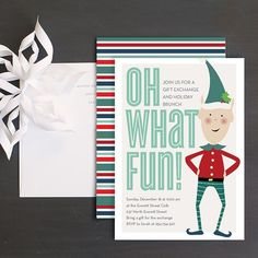 Elf Fun Christmas Party Invitation