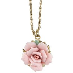 1928 Pink Rose Necklace ($18) ❤ liked on Polyvore featuring jewelry, necklaces, pink, rose jewellery, pink necklace, rose jewelry, rosette necklace and pink jewelry