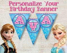 free frozen printable banner | PERSONALIZED Birthday Banner, Frozen Birthday Banner, Birthday Party ...