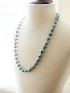 Vintage Cloisonné Bead Necklace Hand Knotted by unconventionalJ, $85.00