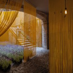 MOSCA / girona / spain / pau sarquella fabregas y carmen torres Interior Exterior, Best Interior, Interior Design, Arch Architecture, Shigeru Ban, Metal Curtain, Inside Outside, Old Stone, Mellow Yellow