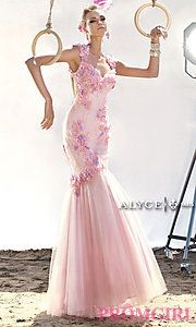 Buy Alyce Prom Dress with Floral Appliques at PromGirl