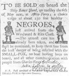 Advertisement for the Sale of Slaves    This is a newspaper advertisement for the sale of slaves at Ashley Ferry outside of Charleston, South Carolina.    Date:      1785 circa