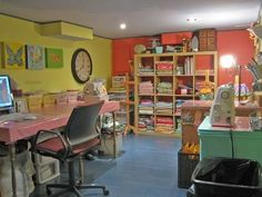 We love the use of bright color in this happy craft room.