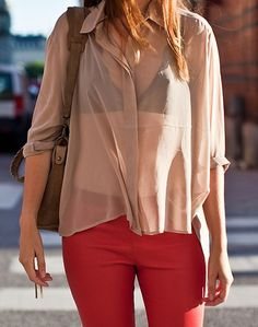 | beige | sheer | red leather |