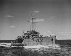 HMCS Esquimalt, Canadian Minesweeper sunk in April 1945 by a German U-Boat, with only 27 of its 71 crew members surviving. Royal Canadian Navy, Canadian Army, Royal Navy, Hms Hood, German Submarines, Armada, Navy Ships, Battleship, Armed Forces
