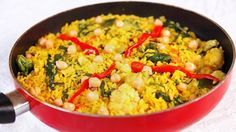 Paella Vegetariana con Pimientos y Garbanzos - quericavida.com