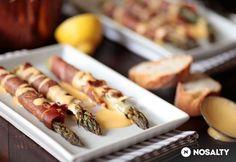 Spárga serrano sonkával hollandi mártásban Hot Dogs, Sushi, Ale, Sausage, Meat, Ethnic Recipes, Food, Ale Beer, Sausages