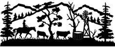 cow horse scene silhouette - Google Search