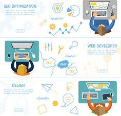 concept de conception plat pour le de marketing numérique - Illustration vectorielle