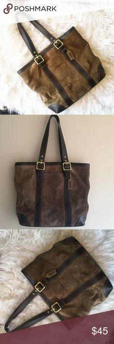 Green coach tote bag Olive green / brownish tote bag, authentic. I'm good condition Offers are welcome It's a really cute bag, I just need more space in my closet. Coach Bags Totes